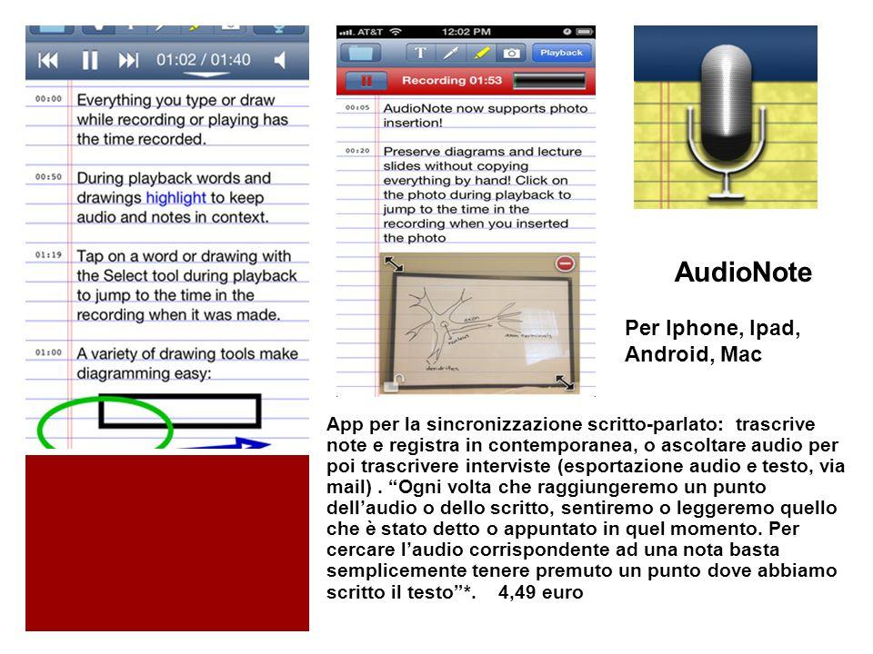 AudioNote App per la sincronizzazione scritto-parlato: trascrive note e registra in contemporanea, o ascoltare audio per poi trascrivere interviste (esportazione audio e testo, via mail).