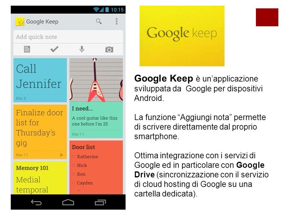 Google Keep è un'applicazione sviluppata da Google per dispositivi Android.