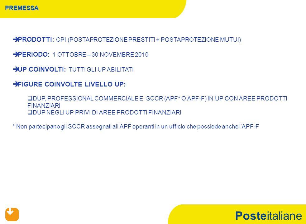 Posteitaliane PREMESSA   PRODOTTI: CPI (POSTAPROTEZIONE PRESTITI + POSTAPROTEZIONE MUTUI)   PERIODO: 1 OTTOBRE – 30 NOVEMBRE 2010   UP COINVOLTI: TUTTI GLI UP ABILITATI   FIGURE COINVOLTE LIVELLO UP:   DUP, PROFESSIONAL COMMERCIALE E SCCR (APF* O APF-F) IN UP CON AREE PRODOTTI FINANZIARI   DUP NEGLI UP PRIVI DI AREE PRODOTTI FINANZIARI * Non partecipano gli SCCR assegnati all'APF operanti in un ufficio che possiede anche l'APF-F