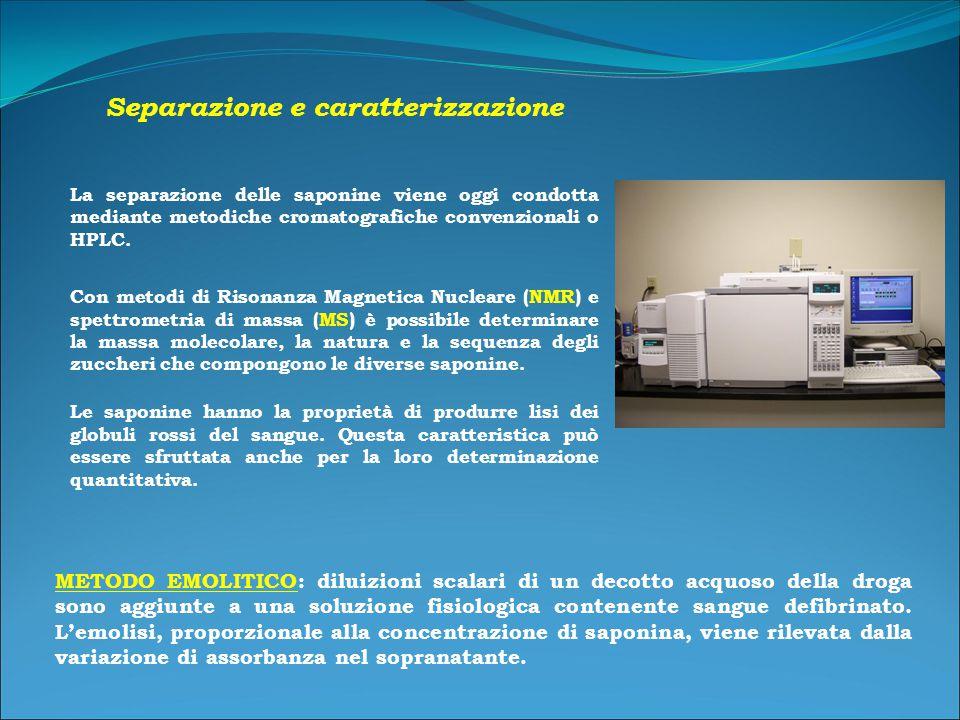 Separazione e caratterizzazione La separazione delle saponine viene oggi condotta mediante metodiche cromatografiche convenzionali o HPLC.