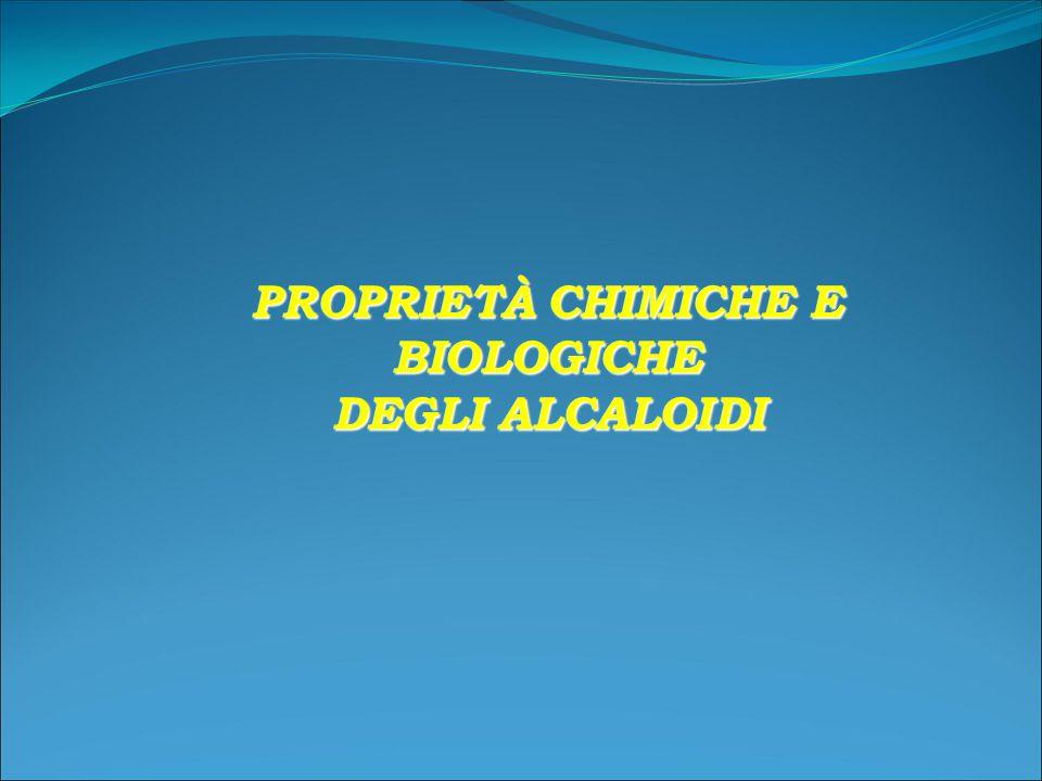 PROPRIETÀ CHIMICHE E BIOLOGICHE DEGLI ALCALOIDI