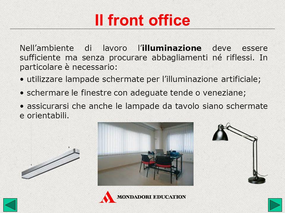 Nell'ambiente di lavoro l'illuminazione deve essere sufficiente ma senza procurare abbagliamenti né riflessi. In particolare è necessario: assicurarsi