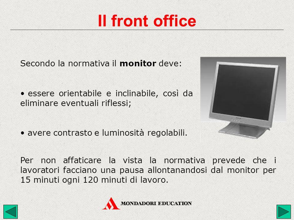 Secondo la normativa il monitor deve: Per non affaticare la vista la normativa prevede che i lavoratori facciano una pausa allontanandosi dal monitor