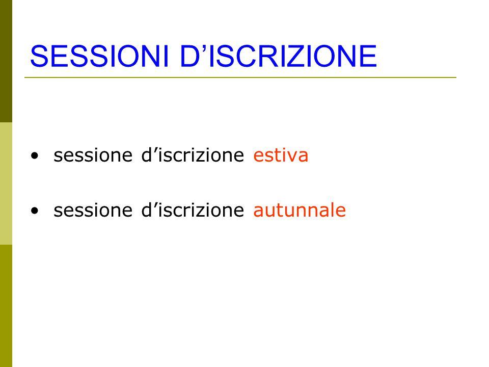 SESSIONI D'ISCRIZIONE sessione d'iscrizione estiva sessione d'iscrizione autunnale