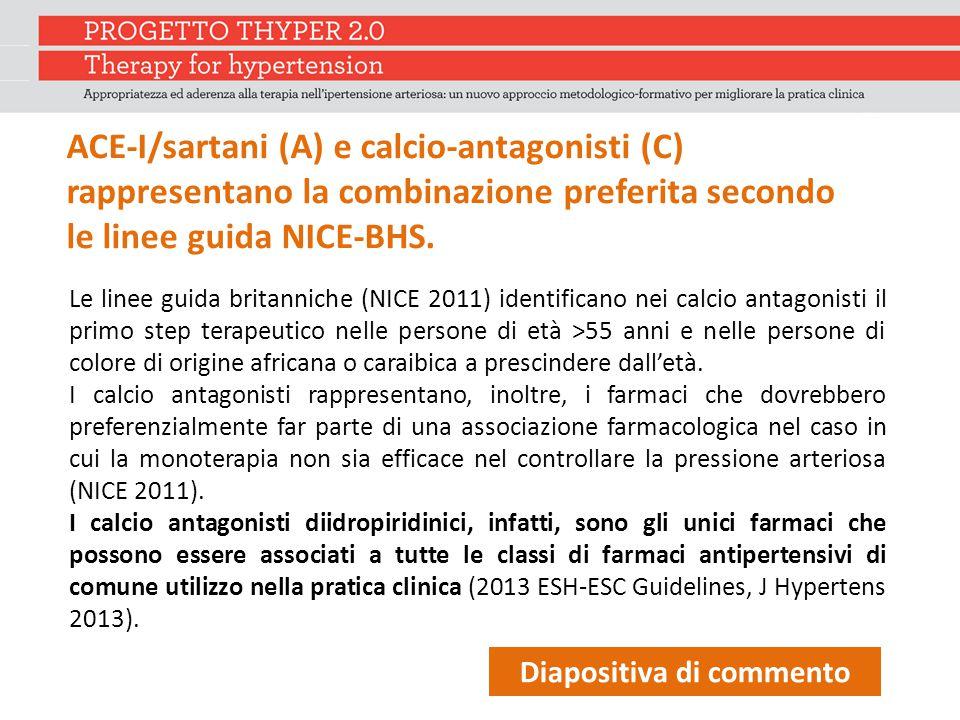 ACE-I/sartani (A) e calcio-antagonisti (C) rappresentano la combinazione preferita secondo le linee guida NICE-BHS.