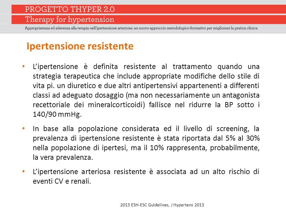 Ipertensione resistente L'ipertensione è definita resistente al trattamento quando una strategia terapeutica che include appropriate modifiche dello stile di vita pi.
