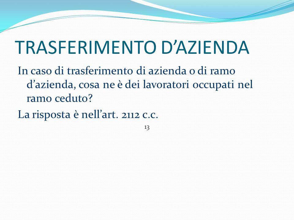 TRASFERIMENTO D'AZIENDA In caso di trasferimento di azienda o di ramo d'azienda, cosa ne è dei lavoratori occupati nel ramo ceduto.