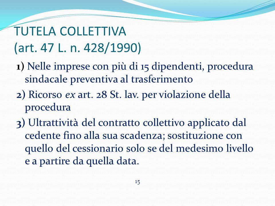 TUTELA COLLETTIVA (art. 47 L. n. 428/1990) 1) Nelle imprese con più di 15 dipendenti, procedura sindacale preventiva al trasferimento 2) Ricorso ex ar
