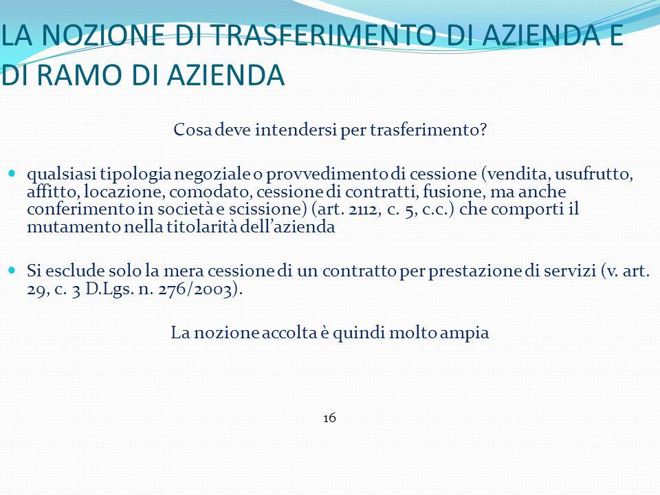 LA NOZIONE DI TRASFERIMENTO DI AZIENDA E DI RAMO DI AZIENDA Cosa deve intendersi per trasferimento.
