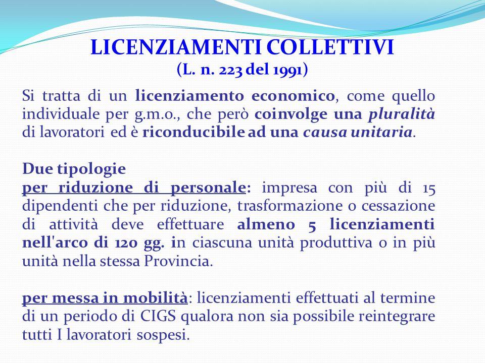 LICENZIAMENTI COLLETTIVI (L.n.