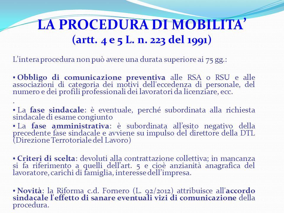 LA PROCEDURA DI MOBILITA ' (artt. 4 e 5 L. n. 223 del 1991) L'intera procedura non può avere una durata superiore ai 75 gg.: Obbligo di comunicazione