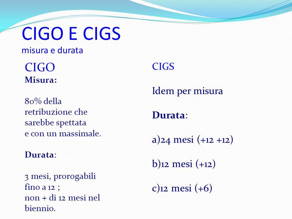 CIGO E CIGS misura e durata CIGO Misura: 80% della retribuzione che sarebbe spettata e con un massimale. Durata: 3 mesi, prorogabili fino a 12 ; non +