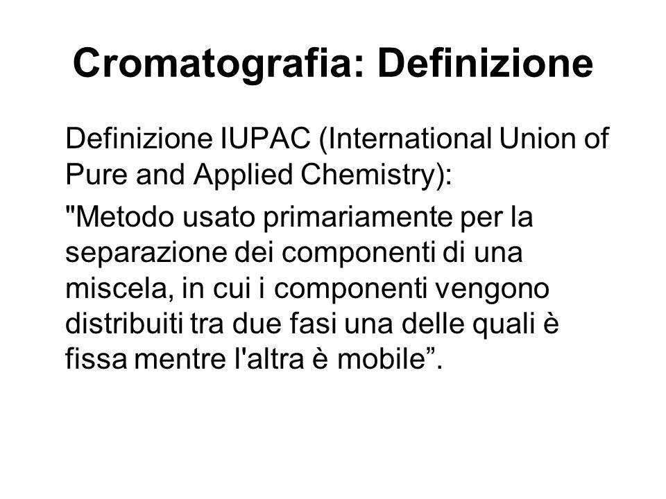 Cromatografia: Definizione Definizione IUPAC (International Union of Pure and Applied Chemistry):
