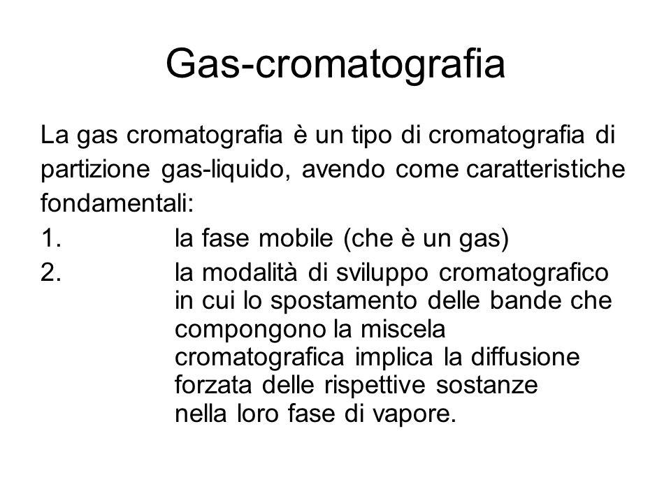 Gas-cromatografia La gas cromatografia è un tipo di cromatografia di partizione gas-liquido, avendo come caratteristiche fondamentali: 1.la fase mobil