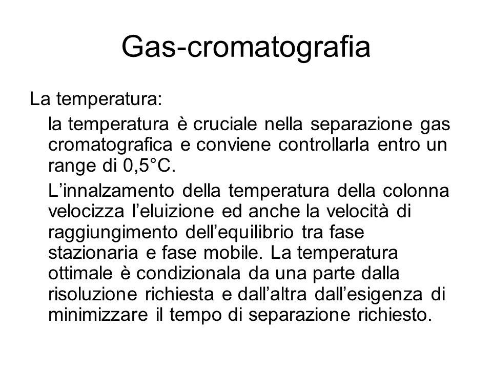 La temperatura: la temperatura è cruciale nella separazione gas cromatografica e conviene controllarla entro un range di 0,5°C. L'innalzamento della t