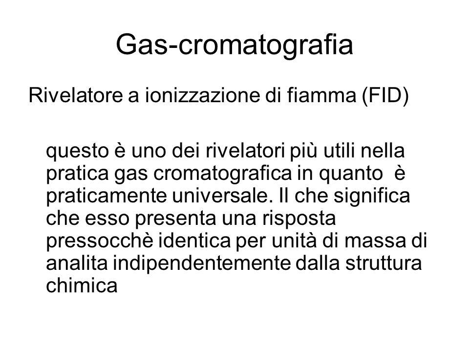 Gas-cromatografia Il FID funziona bruciando l'effluente in una fiamma idrogeno/aria in presenza di un eccesso stechiometrico di ossigeno rispetto all'idrogeno.