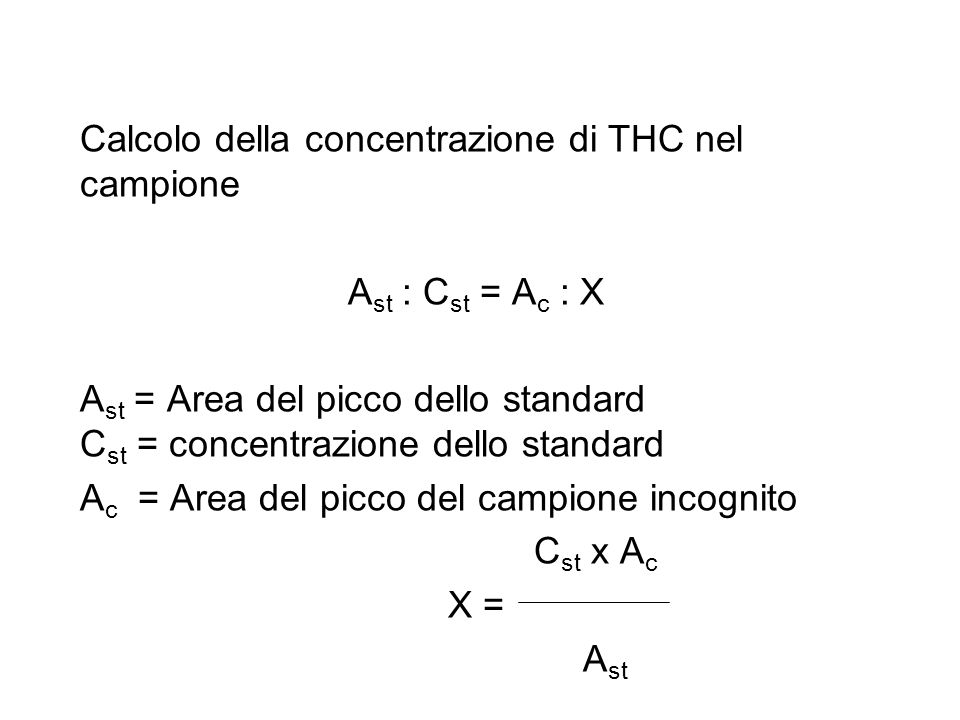 1 mg/ml x 2149778 X = = 0,04 mg/ml 53576892 Da questo si desume che nei 2 ml di metanolo usato per l'estrazione della canabis sativa vi sono 0,08 mg di THC ed essendo il campiono analizzao composto da 500 mg di erba il grado di THC è dello 0,016 %