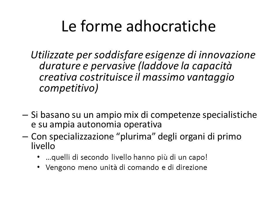 Le forme adhocratiche Utilizzate per soddisfare esigenze di innovazione durature e pervasive (laddove la capacità creativa costrituisce il massimo van