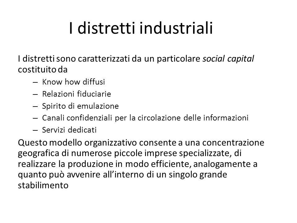 I distretti industriali I distretti sono caratterizzati da un particolare social capital costituito da – Know how diffusi – Relazioni fiduciarie – Spi