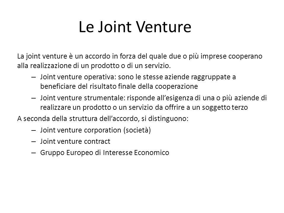 Le Joint Venture La joint venture è un accordo in forza del quale due o più imprese cooperano alla realizzazione di un prodotto o di un servizio. – Jo