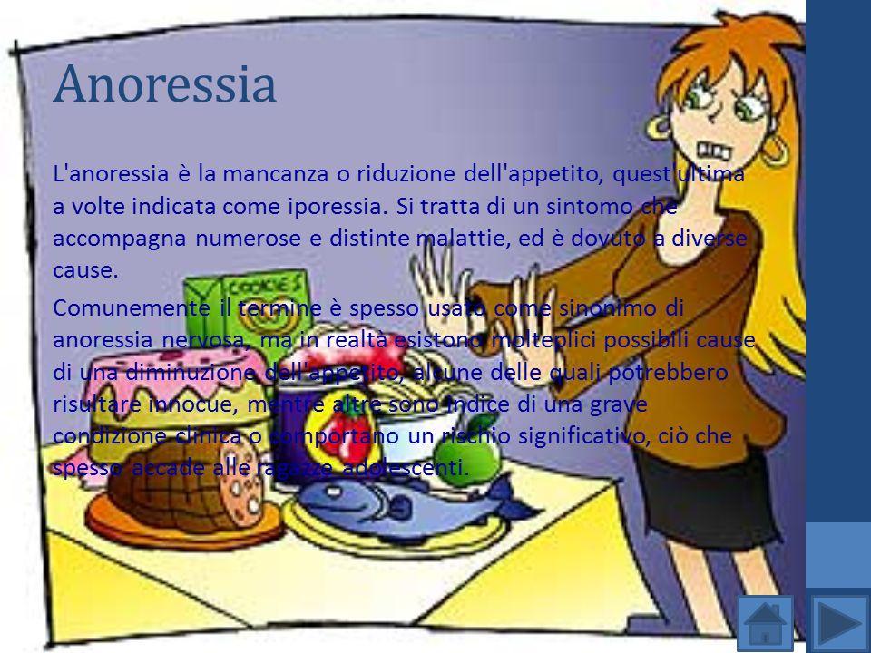 Anoressia L'anoressia è la mancanza o riduzione dell'appetito, quest'ultima a volte indicata come iporessia. Si tratta di un sintomo che accompagna nu