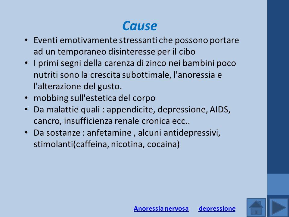 Cause Eventi emotivamente stressanti che possono portare ad un temporaneo disinteresse per il cibo I primi segni della carenza di zinco nei bambini po