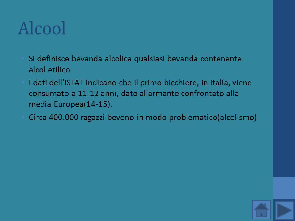 Alcool Si definisce bevanda alcolica qualsiasi bevanda contenente alcol etilico I dati dell'ISTAT indicano che il primo bicchiere, in Italia, viene co