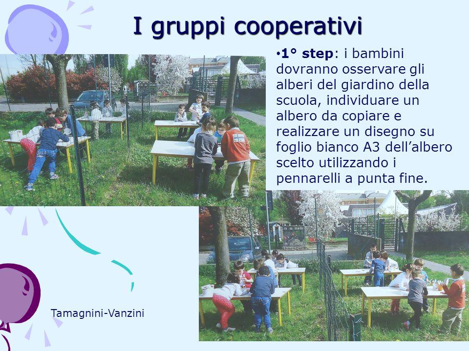 I gruppi cooperativi Tamagnini-Vanzini 1° step: i bambini dovranno osservare gli alberi del giardino della scuola, individuare un albero da copiare e