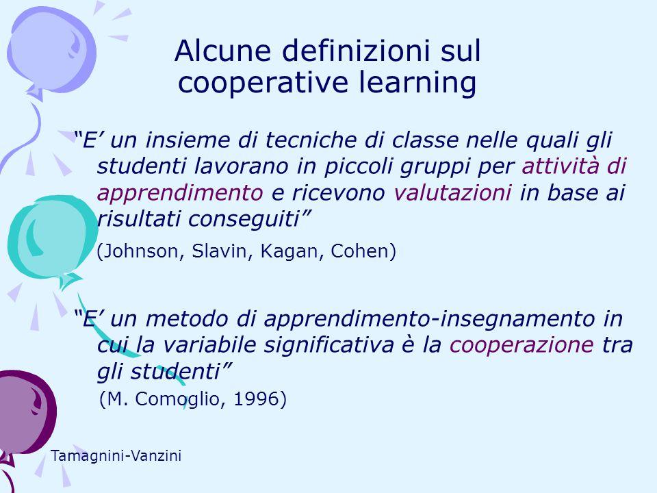Alcune definizioni sul cooperative learning E' un insieme di tecniche di classe nelle quali gli studenti lavorano in piccoli gruppi per attività di apprendimento e ricevono valutazioni in base ai risultati conseguiti (Johnson, Slavin, Kagan, Cohen) E' un metodo di apprendimento-insegnamento in cui la variabile significativa è la cooperazione tra gli studenti (M.