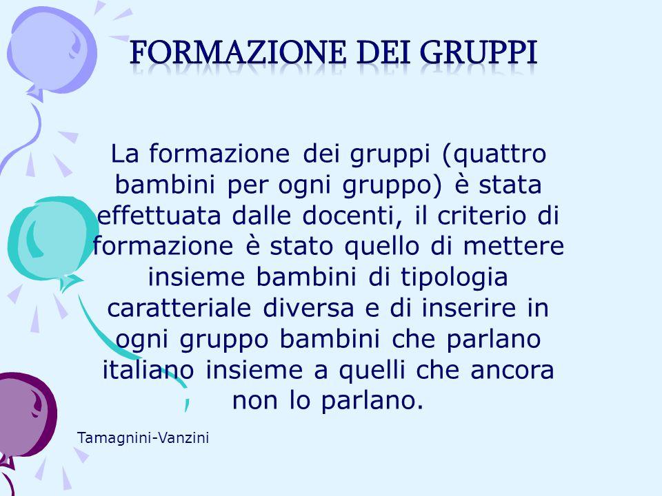 Tamagnini-Vanzini La formazione dei gruppi (quattro bambini per ogni gruppo) è stata effettuata dalle docenti, il criterio di formazione è stato quell