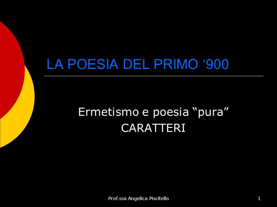"""Prof.ssa Angelica Piscitello1 LA POESIA DEL PRIMO '900 Ermetismo e poesia """"pura"""" CARATTERI"""