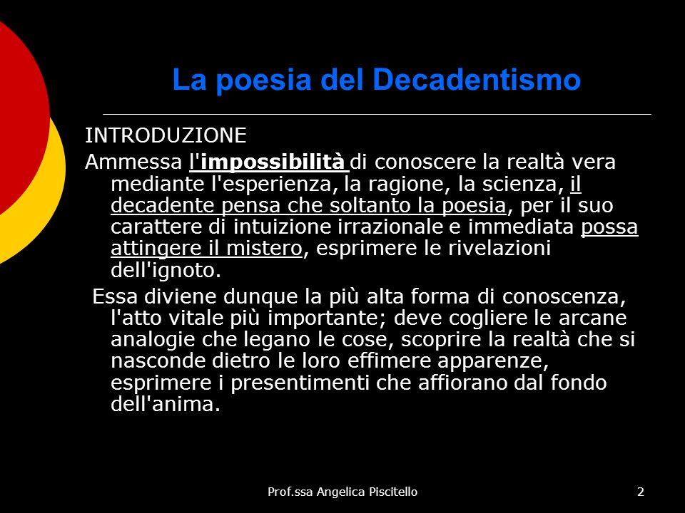 Prof.ssa Angelica Piscitello2 La poesia del Decadentismo INTRODUZIONE Ammessa l'impossibilità di conoscere la realtà vera mediante l'esperienza, la ra