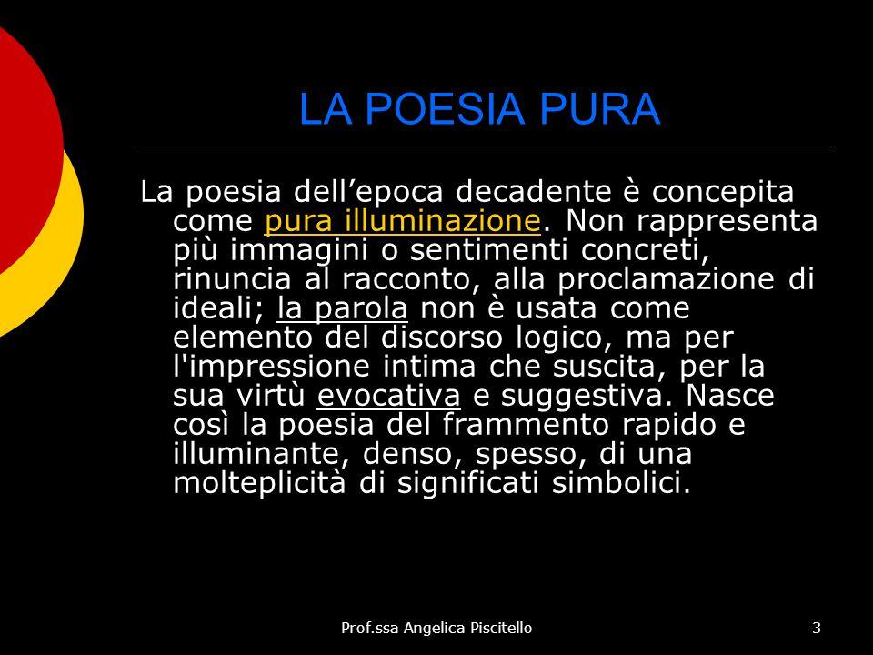 Prof.ssa Angelica Piscitello3 LA POESIA PURA La poesia dell'epoca decadente è concepita come pura illuminazione. Non rappresenta più immagini o sentim