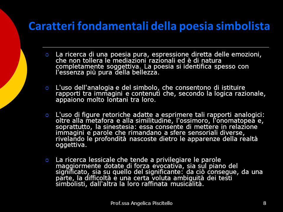 Prof.ssa Angelica Piscitello8 Caratteri fondamentali della poesia simbolista  La ricerca di una poesia pura, espressione diretta delle emozioni, che