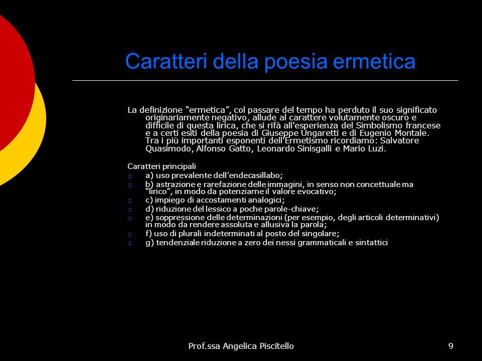 """Prof.ssa Angelica Piscitello9 Caratteri della poesia ermetica La definizione """"ermetica"""", col passare del tempo ha perduto il suo significato originari"""