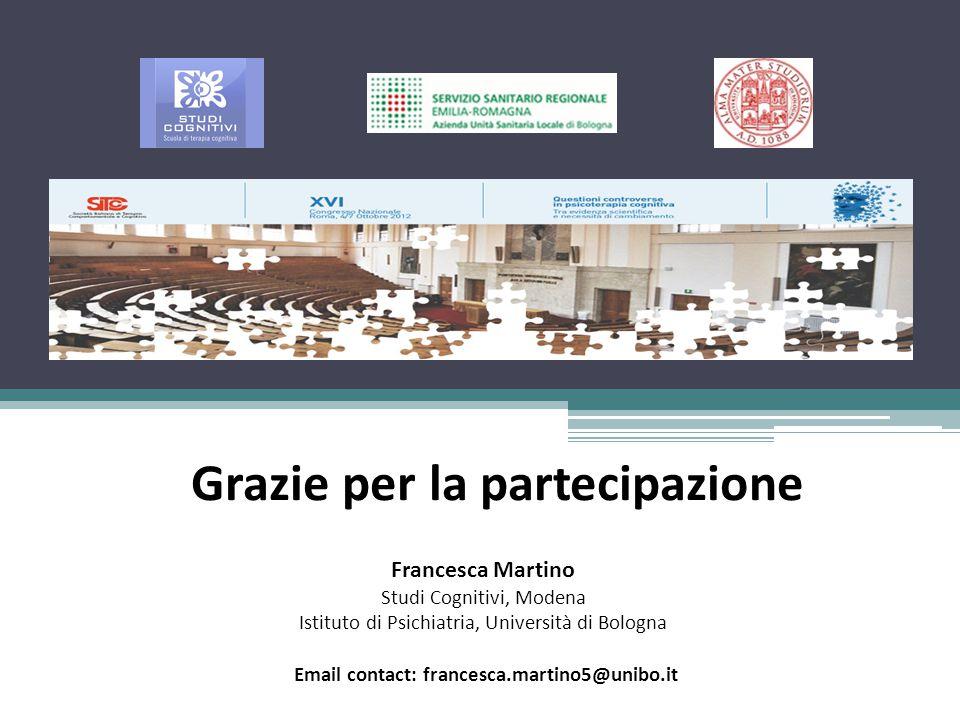 Grazie per la partecipazione Francesca Martino Studi Cognitivi, Modena Istituto di Psichiatria, Università di Bologna Email contact: francesca.martino