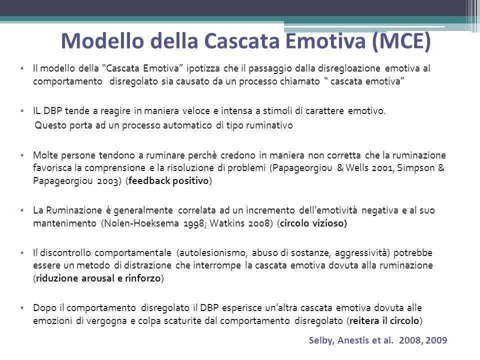 Modello della Cascata Emotiva (MCE) Il modello della Cascata Emotiva ipotizza che il passaggio dalla disregloazione emotiva al comportamento disregolato sia causato da un processo chiamato cascata emotiva IL DBP tende a reagire in maniera veloce e intensa a stimoli di carattere emotivo.