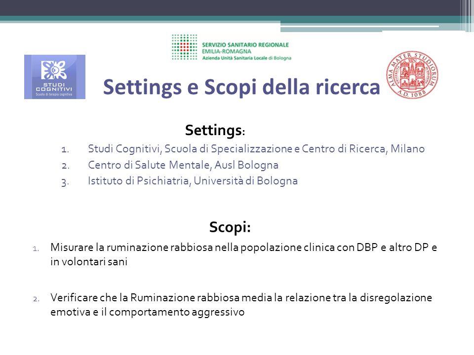 Settings e Scopi della ricerca Settings : 1.Studi Cognitivi, Scuola di Specializzazione e Centro di Ricerca, Milano 2.Centro di Salute Mentale, Ausl B