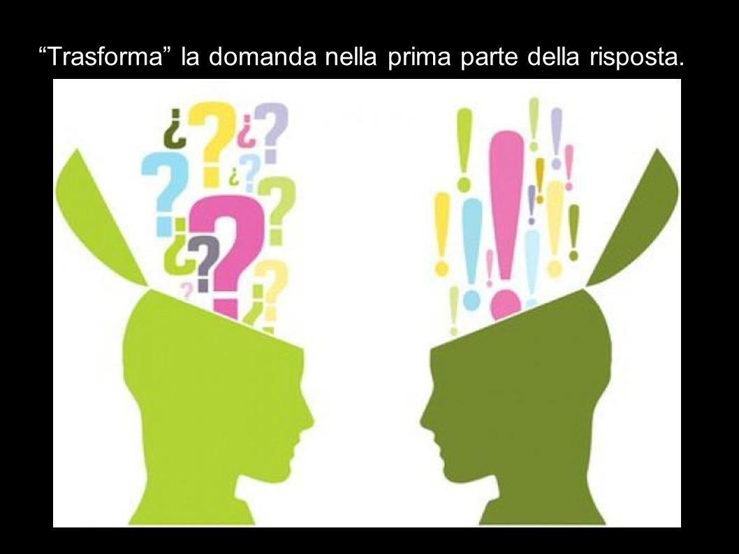 """""""Trasforma"""" la domanda nella prima parte della risposta."""