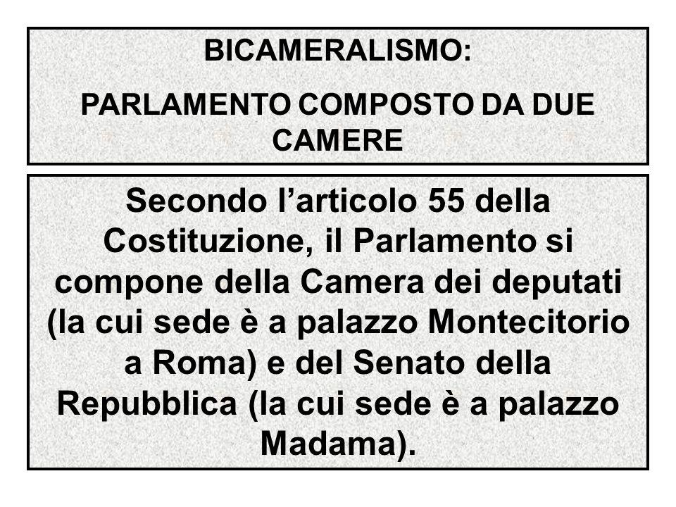 BICAMERALISMO: PARLAMENTO COMPOSTO DA DUE CAMERE Secondo l'articolo 55 della Costituzione, il Parlamento si compone della Camera dei deputati (la cui sede è a palazzo Montecitorio a Roma) e del Senato della Repubblica (la cui sede è a palazzo Madama).