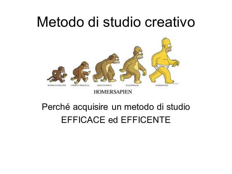 Metodo di studio creativo Perché acquisire un metodo di studio EFFICACE ed EFFICENTE