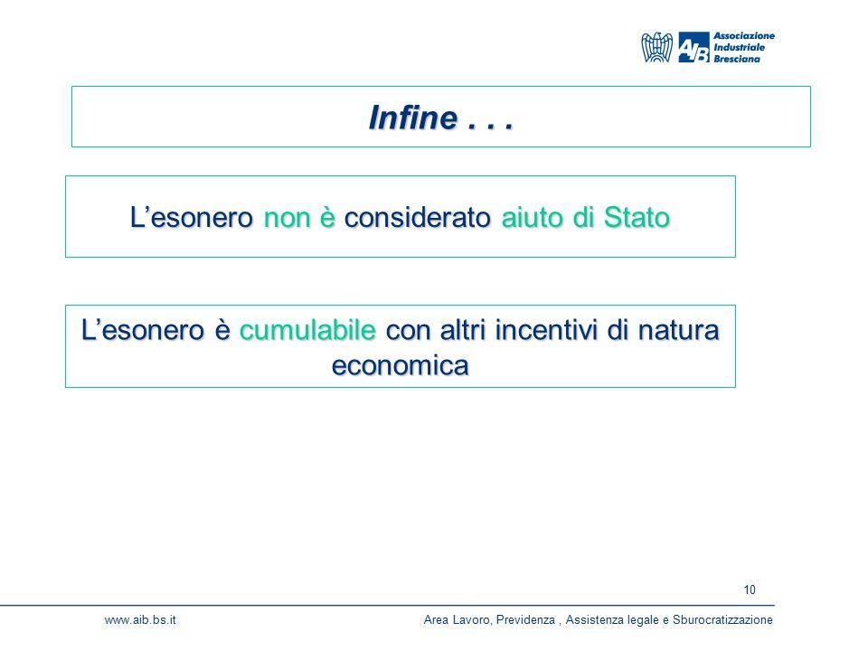 10 www.aib.bs.itArea Lavoro, Previdenza, Assistenza legale e Sburocratizzazione Infine...