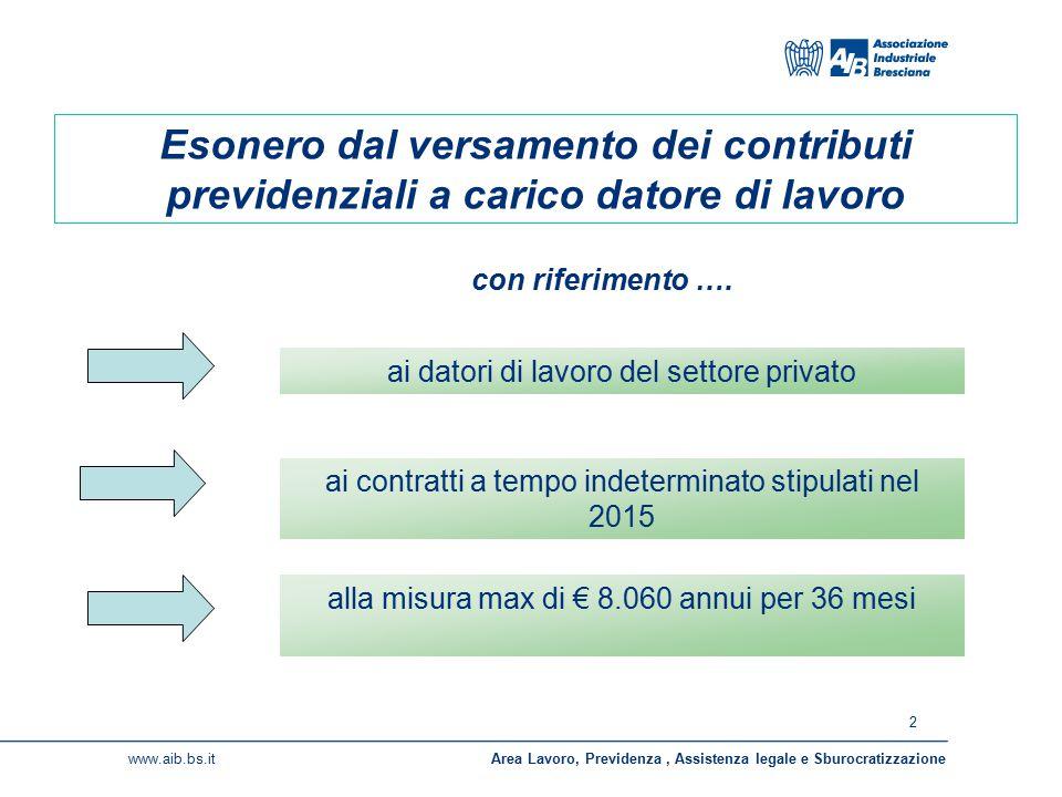 2 www.aib.bs.itArea Lavoro, Previdenza, Assistenza legale e Sburocratizzazione Esonero dal versamento dei contributi previdenziali a carico datore di