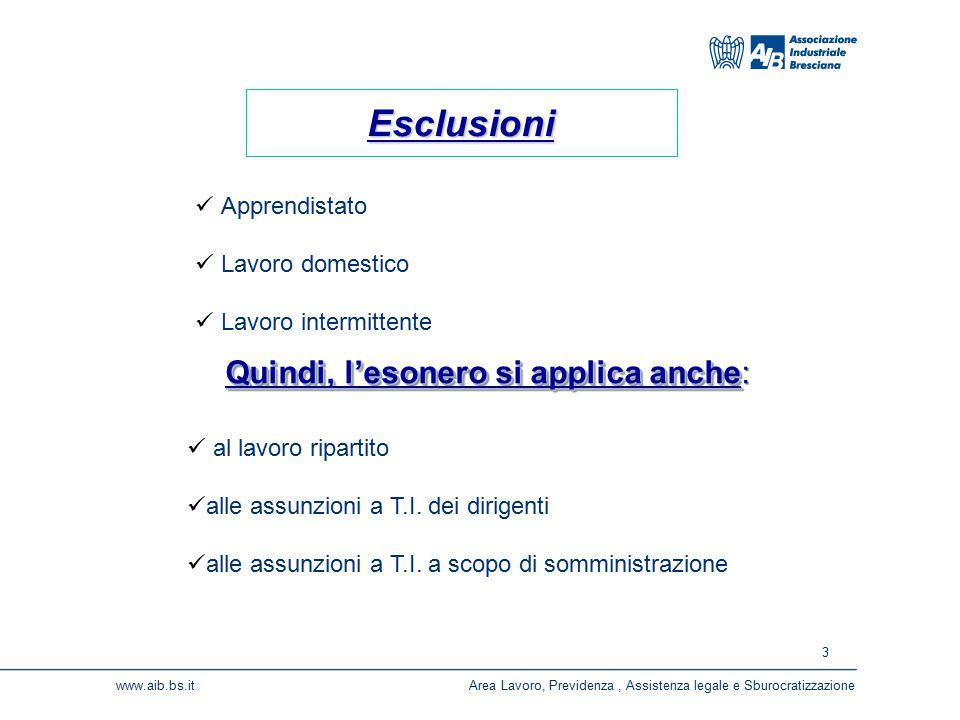 3 www.aib.bs.itArea Lavoro, Previdenza, Assistenza legale e Sburocratizzazione Apprendistato Lavoro domestico Lavoro intermittente Esclusioni al lavor
