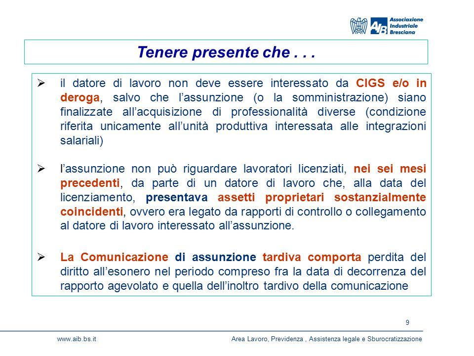 9 www.aib.bs.itArea Lavoro, Previdenza, Assistenza legale e Sburocratizzazione  il datore di lavoro non deve essere interessato da CIGS e/o in deroga