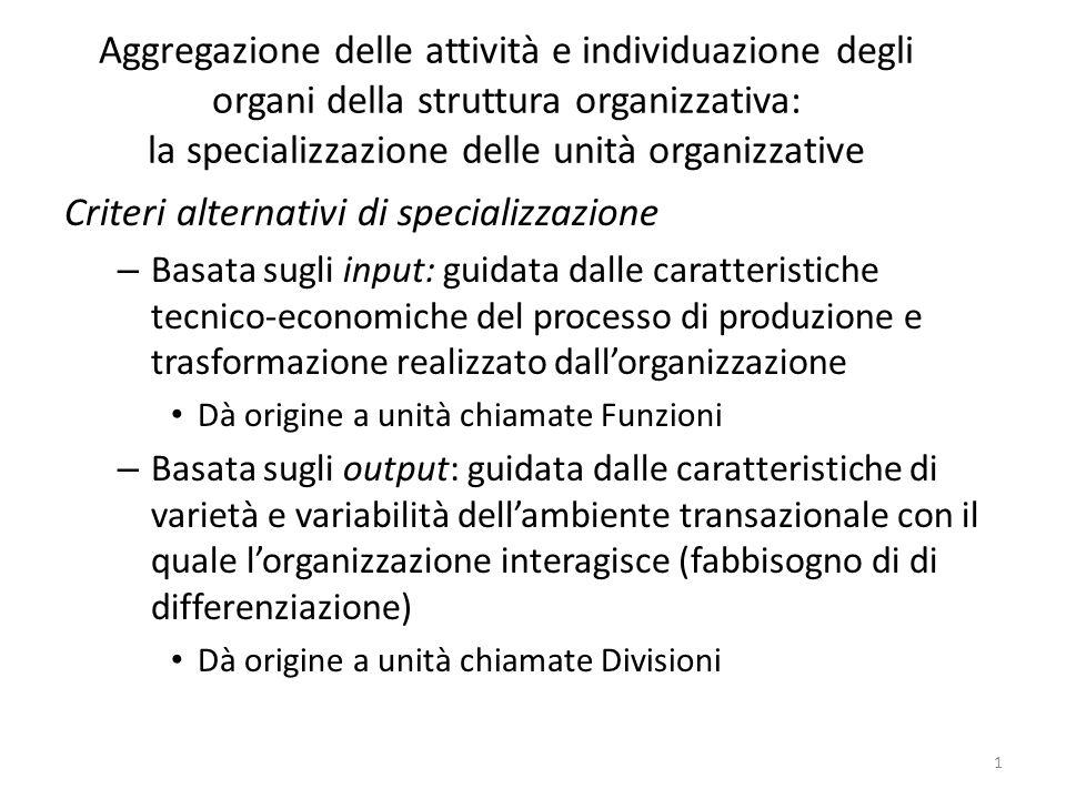 Aggregazione delle attività e individuazione degli organi della struttura organizzativa: la specializzazione delle unità organizzative Criteri alterna