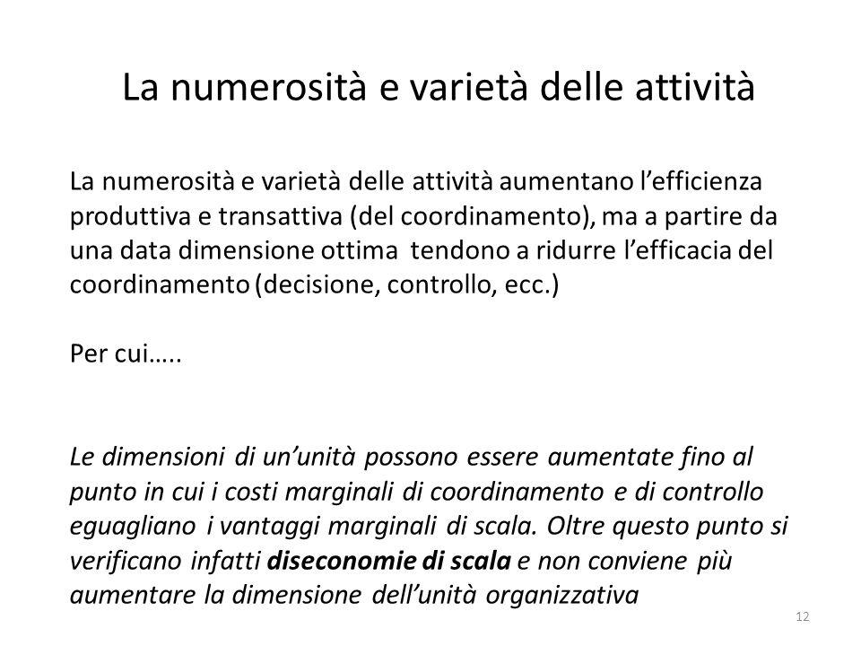 12 La numerosità e varietà delle attività La numerosità e varietà delle attività aumentano l'efficienza produttiva e transattiva (del coordinamento),