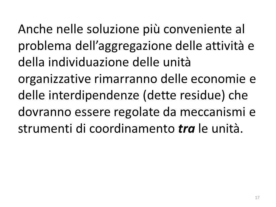 17 Anche nelle soluzione più conveniente al problema dell'aggregazione delle attività e della individuazione delle unità organizzative rimarranno dell
