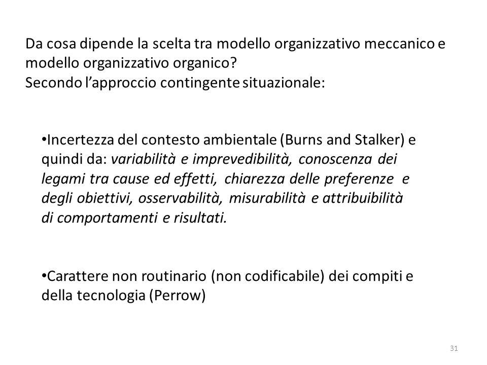 Da cosa dipende la scelta tra modello organizzativo meccanico e modello organizzativo organico? Secondo l'approccio contingente situazionale: Incertez