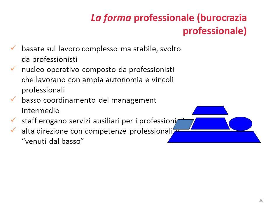 La forma professionale (burocrazia professionale) basate sul lavoro complesso ma stabile, svolto da professionisti nucleo operativo composto da profes